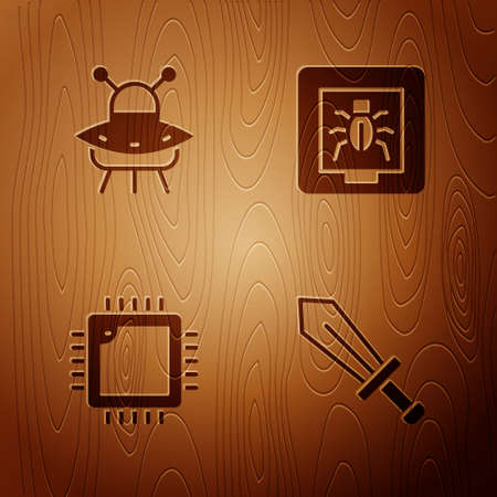 Set Sword for game, UFO flying spaceship, Processor with CPU and Insects frame on wooden background. Vector