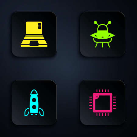 Set Processor with CPU, Laptop, Rocket ship and UFO flying spaceship. Black square button. Vector