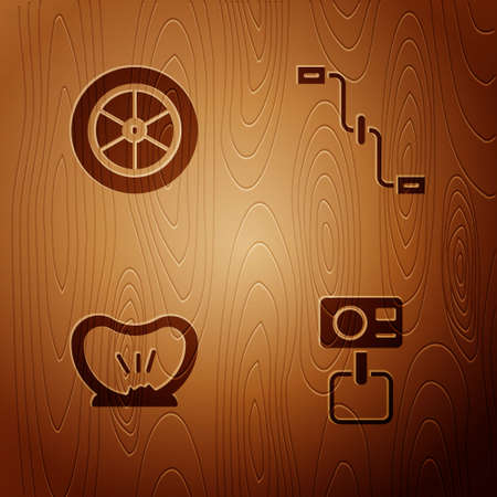 Set Action extreme camera, Bicycle wheel, punctured tire and pedals on wooden background. Vector