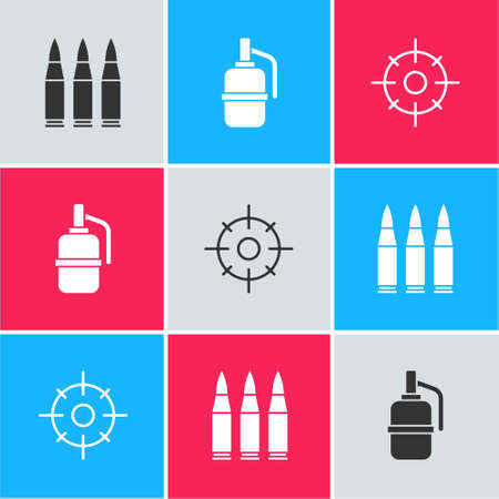 Set Bullet, Hand grenade and Target sport icon. Vector