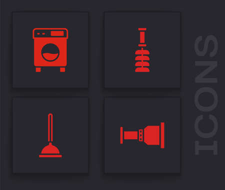 Set Pipe adapter, Washer, Toilet brush and Rubber plunger icon. Vector