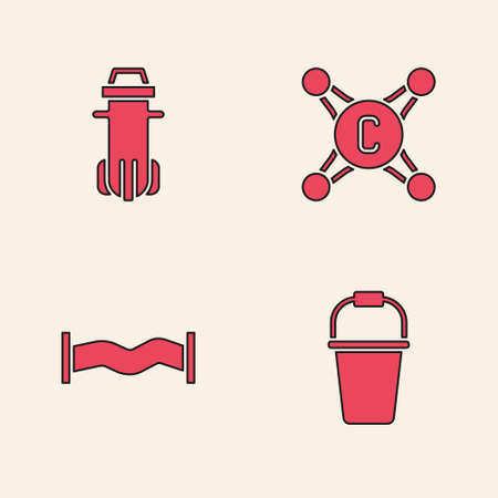Set Bucket, Water filter, tap and Industry metallic pipe icon. Vector