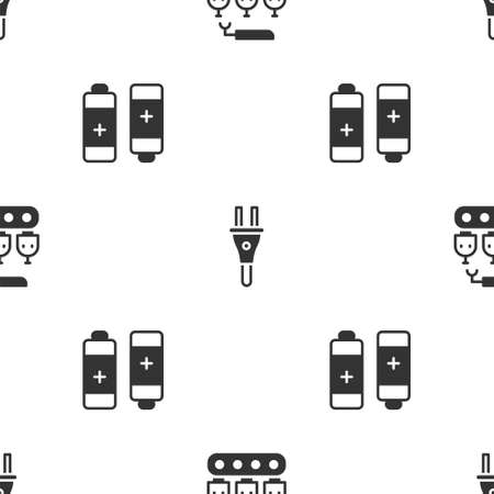Set Industrial production of robots, Electric plug and Battery on seamless pattern. Vector