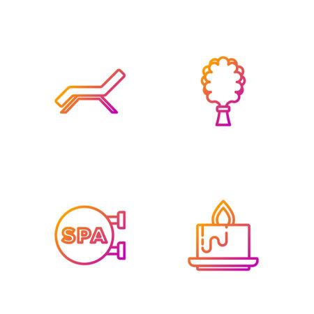 Set line Aroma candle, Spa salon, Sunbed umbrella and Sauna broom. Gradient color icons. Vector