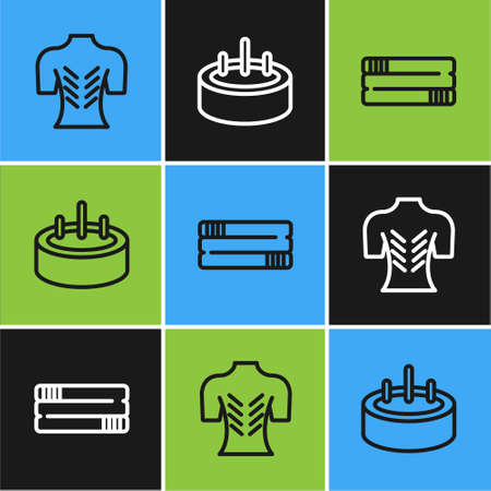 Set line Massage, Towel stack and Swimming pool with ladder icon. Vector Illustration