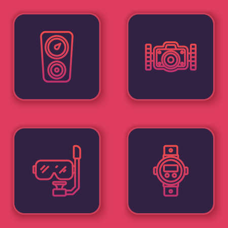 Set line Gauge scale, Diving mask and snorkel, Photo camera and watch. Blue square button. Vector