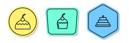 Set line Cake, and with burning candles. Colored shapes. Vector Illustration