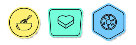 Set line Kitchen whisk and bowl, Candy in heart shaped box and Donut. Colored shapes. Vector