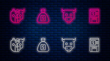 Set line Money bag, Bull market, and bear of stock and ATM money. Glowing neon icon on brick wall. Vector