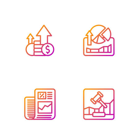 Set line Online internet auction, Business finance report, Financial growth and coin and Stocks market graphs. Gradient color icons. Vector
