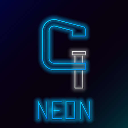 Glowing neon line Clamp and screw tool icon isolated on black background. Locksmith tool. Colorful outline concept. Vector