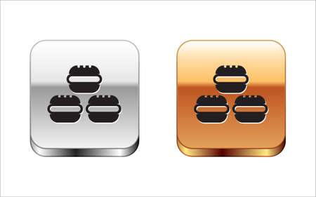 Black Macaron cookie icon isolated on white background. Macaroon sweet bakery. Silver-gold square button. Vector