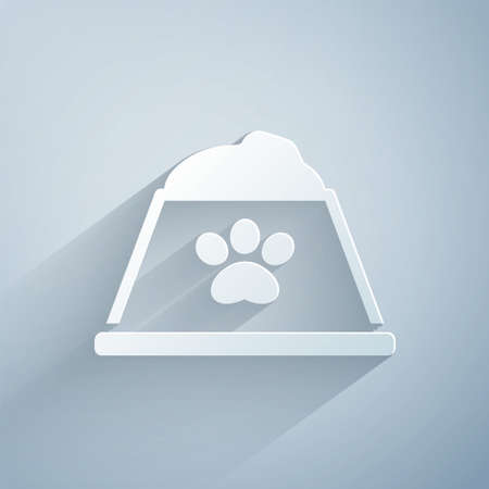 Paper cut Pet food bowl for cat or dog icon isolated on grey background. Dog or cat paw print. Paper art style. Vector