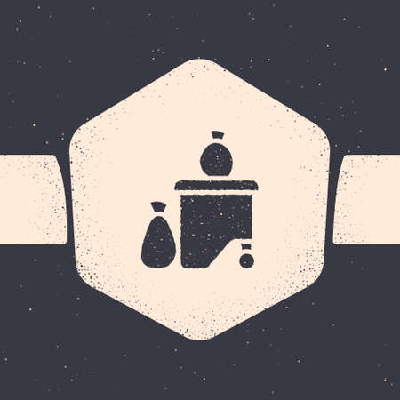Grunge garbage box being full with garbage icon isolated on grey background. Garbage is pile lots dump. Garbage waste lots junk dump. Monochrome vintage drawing. Vector