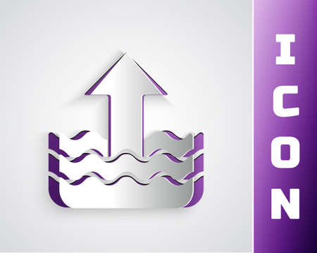 Paper cut Rise in water level icon isolated on grey background. Paper art style. Vector