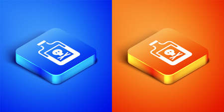 Isometric Poison in bottle icon isolated on blue and orange background. Bottle of poison or poisonous chemical toxin. Square button. Vector