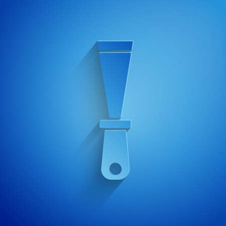 Paper cut Putty knife icon isolated on blue background. Spatula repair tool. Spackling or paint instruments. Paper art style. Vector
