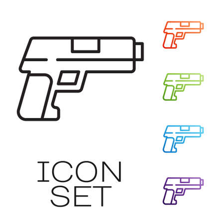 Black line Pistol or gun icon isolated on white background. Police or military handgun. Small firearm. Set icons colorful. Vector Векторная Иллюстрация