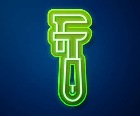 Glowing neon line Pipe adjustable wrench icon isolated on blue background. Vector