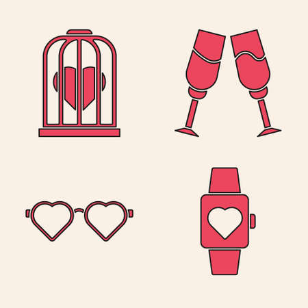 Set Heart in the center wrist watch, Heart in the bird cage, Glass of champagne and Heart shaped love glasses icon. Vector Illustration
