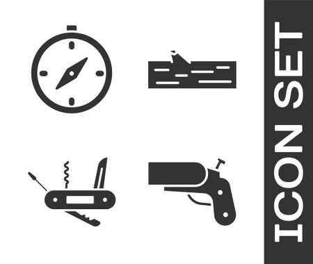Set Flare gun pistol, Compass, pocket knife and Wooden log icon. Vector