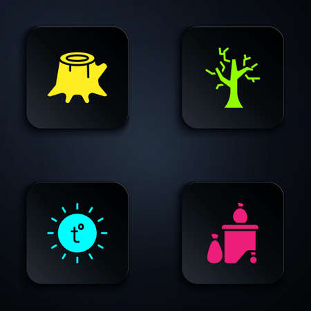 Set Full dustbin, Tree stump, Sun and Withered tree. Black square button. Vector