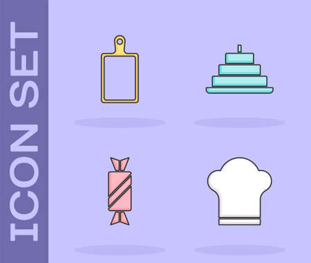 Set Chef hat, Cutting board, Candy and Cake with burning candles icon. Vector