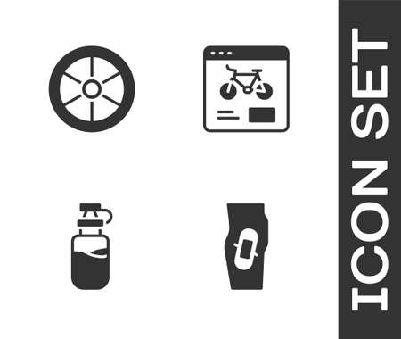 Set Plaster on leg, Bicycle wheel, Sport bottle with water and rental mobile app icon. Vector