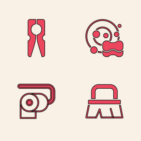 Set Brush for cleaning, Clothes pin, Washing dishes and Toilet paper roll icon. Vector
