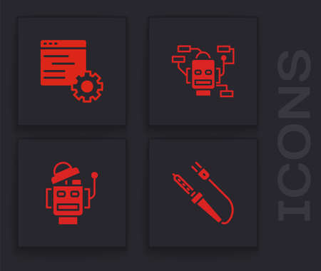 Set Soldering iron, Computer api interface, Robot and icon. Vector