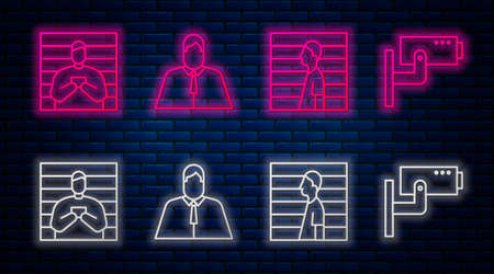 Set line Lawyer, attorney, jurist, Suspect criminal, Suspect criminal and Security camera. Glowing neon icon on brick wall. Vector