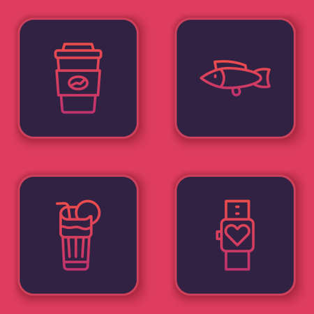 Set line Coffee cup to go, Fresh smoothie, Fish and Smart watch. Blue square button. Vector