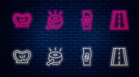 Set line Bicycle bell, Plaster on leg, punctured tire and lane. Glowing neon icon on brick wall. Vector