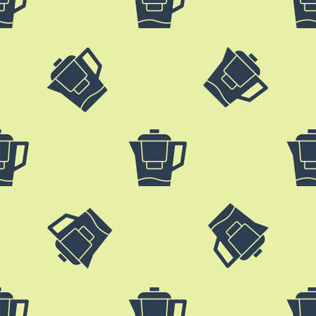 Blue Water jug with a filter icon isolated seamless pattern on yellow background. Vector Ilustración de vector