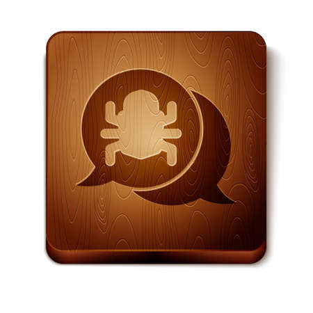 Brown System bug concept icon isolated on white background. Code bug concept. Bug in the system. Bug searching. Wooden square button. Vector Ilustracja