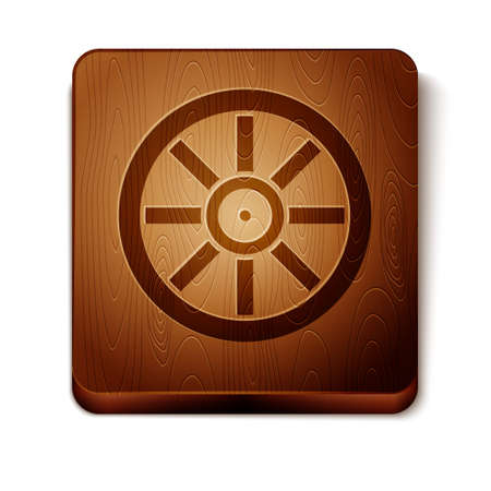 Brown Old wooden wheel icon isolated on white background. Wooden square button. Vector