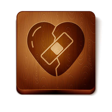 Brown Healed broken heart or divorce icon isolated on white background. Shattered and patched heart. Love symbol. Valentines day. Wooden square button. Vector