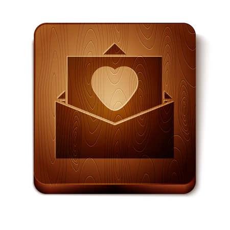 Brown Envelope with Valentine heart icon isolated on white background. Message love. Letter love and romance. Wooden square button. Vector