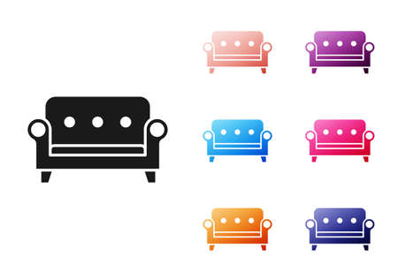 Black Sofa icon isolated on white background. Set icons colorful. Vector Vector Illustratie
