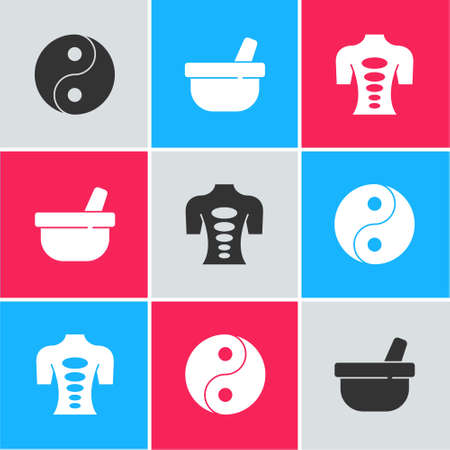 Set Yin Yang, Mortar and pestle and Massage stone therapy icon. Vector Stock Illustratie