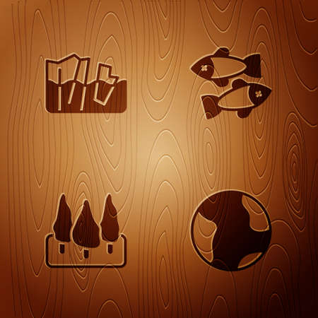 Set Earth globe, Glacier melting, Forest and Dead fish on wooden background. Vector 向量圖像
