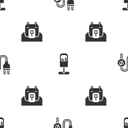 Set Electric saving plug in leaf, Trash can and Polar bear head on seamless pattern. Vector 向量圖像