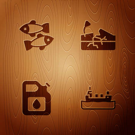 Set Oil tanker ship, Dead fish, Canister for gasoline and Earthquake on wooden background. Vector