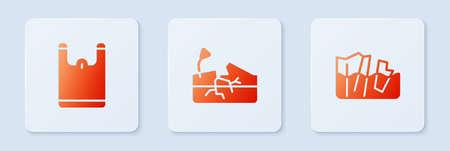 Set Earthquake, Plastic bag and Glacier melting. White square button. Vector 向量圖像