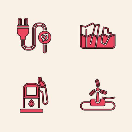 Set Wind turbine, Electric saving plug leaf, Glacier melting and Petrol or gas station icon. Vector