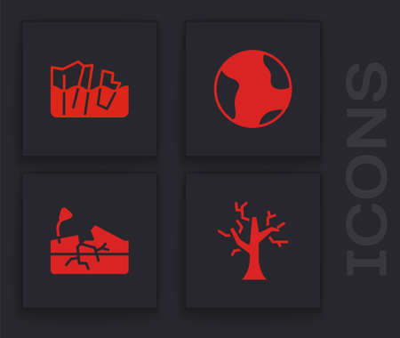 Set Withered tree, Glacier melting, Earth globe and Earthquake icon. Vector