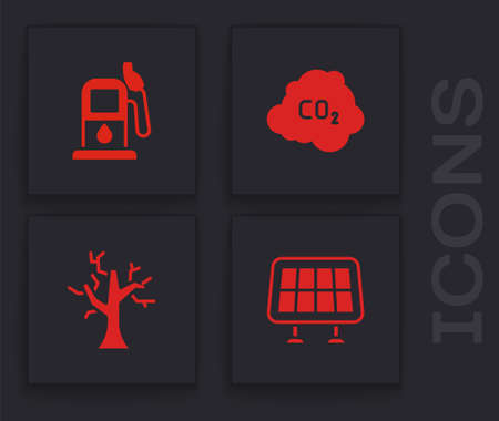 Set Solar energy panel, Petrol or gas station, CO2 emissions in cloud and Withered tree icon. Vector 向量圖像