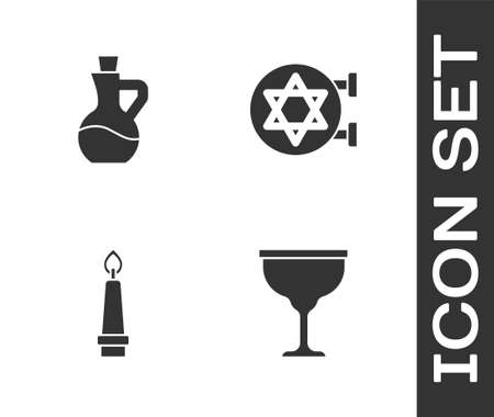 Set Jewish goblet, Bottle of olive oil, Burning candle and synagogue icon. Vector