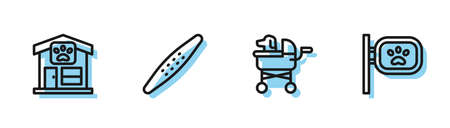 Set line Pet stroller, grooming, Nail file pet and icon. Vector