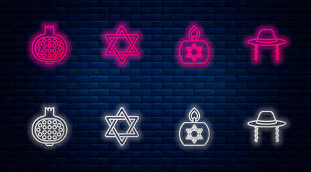 Set line Star of David, Burning candle, Pomegranate and Orthodox jewish hat. Glowing neon icon on brick wall. Vector Vettoriali
